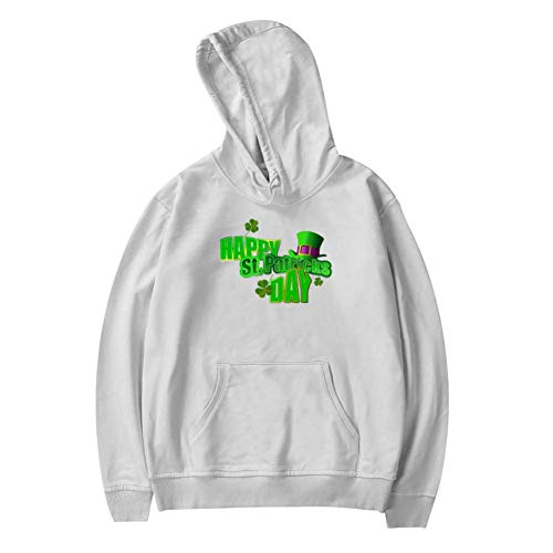 Hyejizn Youth Hoodies | Creative St Patricks Day Lucky Warm and Casual Printed Thicken with Pocket Sweatshirt for Boys Girls L White ()