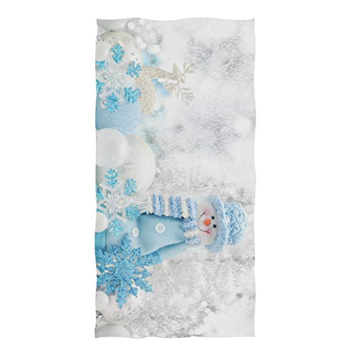 ZZKKO Merry Christmas Winter Holiday Cute Snowman Snowflake Towel Washcloth Baby Toddler Kids Boys Girls Women Man for Home Kitchen Bathroom Spa Gym Swim Hotel Use (Washcloth Holiday)