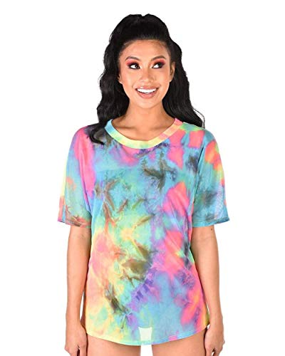 iHeartRaves Rainbow Tie-Dye Cutie Oversized Mesh Tee Shirt (Small)