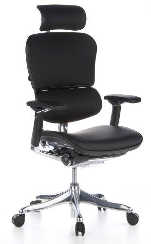 HJH OFFICE 652205 Bürostuhl / Chefsessel Ergohuman Plus Leder, schwarz