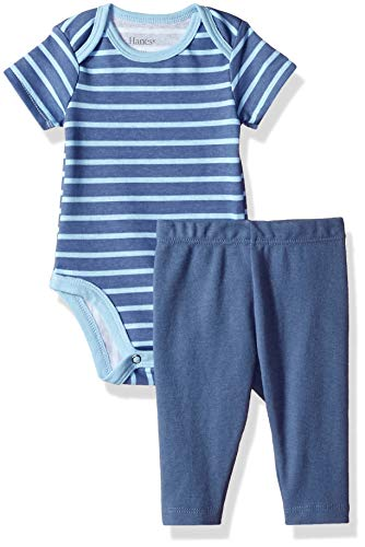 Hanes Ultimate Baby Flexy 2 Piece Set (Pant with Short Sleeve Bodysuit), Blue Stripe 12-18 Months