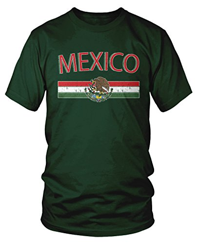 Amdesco Men's Mexican Flag and Coat of Arms, Mexico T-Shirt, Forest Green - Mexico T-shirt Flag