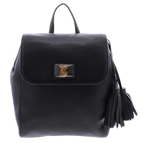 DKNY Womens Alix Leather Embellished Backpack Black Large