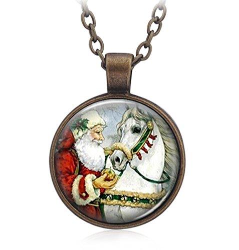 Gudeke Weihnachtsmann Neujahr Weihnachten Geschenk Schmuck Halskette Anhänger für Frauen Männer
