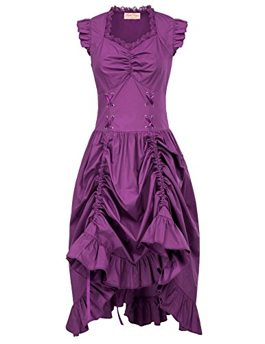 Women Steampunk Victorian Ruffled Dress Sleeveless Pirate Costume S Purple