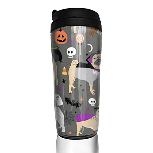 Pug Halloween Costume - Cute Dogs In Costumes - Grey_17376 Coffee Mug 12 Oz Spill Proof Flip Lid Water Bottle Environmental Protection Material ABS ()