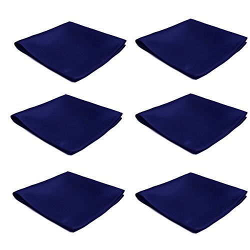 Mens Pocket Squares Handkerchief 6 PK Wedding Party Solid Color Handkerchiefs (Navy)