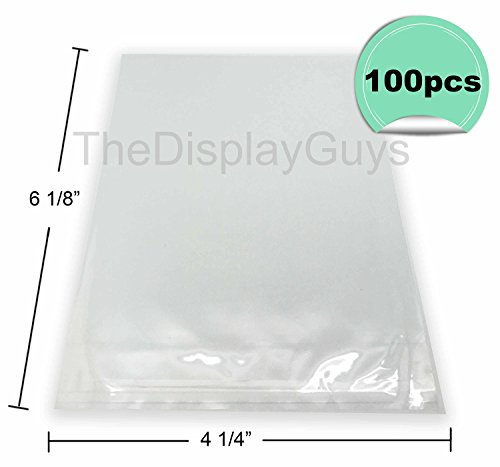 The Display Guys, 100 Pcs 4 1/4 x 6 1/8 Clear Self Adhesive Plastic Bags for 4x6 inches Picture Photo Framing Mats