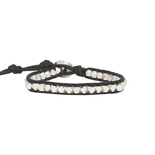Chan Luu Single Wrap Bracelet in Silver Nuggets and Black Leather (Chan Luu Single Wrap)