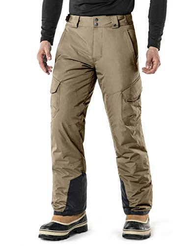 Tesla TM-YKB83-KHK_Large Men's Cargo Rip-Stop Snow Pants Windproof Ski Insulated Water-Repel Bottoms YKB83 ()