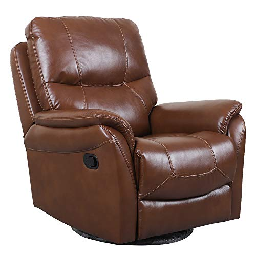 Irene House 360 Degree Upholstered Swivel Glider Rocker Recliner Chair with Breath Leather,so Soft comforble Reclining (Chocolate Brown)