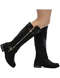 Women's MANGO-21 Quilted Zipper Accent Riding Boots