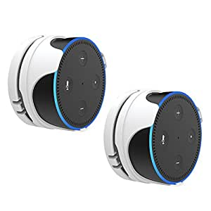 ProCase Removable Wall Mount Stand Holder for Amazon Echo Dot 2nd Generation, Low-Profile Design Without Sound Interference, Space-Saving Bracket for Bathroom Bedroom and Kitchens -White, 2 Pack