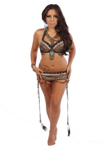 Belly Dance Tribal Bra & Belt Costume Set, Extra Large
