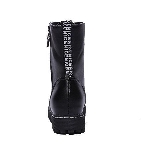 Heels Solid Top Boots Zipper Women's AmoonyFashion Toe Low Black Round Closed Low qzRSEwt