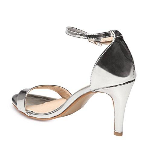 Para Sandalias Mujer De Vestir Plata La Modeuse qZ58w1nI