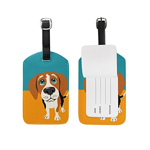 My Daily Beagle Dog Luggage Tag PU Leather Bag Tag Travel Suitcases ID Identifier Baggage Label Beagle Luggage Tag