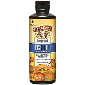Barlean's Mango Peach Fish Oil Omega Swirl, 16-Ounce-Packing May Vary