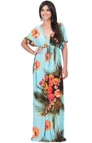 Hawaiin Blue Flowers (KOH KOH Womens Long V-Neck Summer Short Sleeve Floral Print Sexy Gown Hawaiin Beach Day Sun Loose Designer Maternity Flowy Casual Maxi Dress, Color Turquoise, Size Medium M 8-10 (1))
