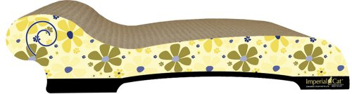 Imperial Cat Chaise Scratch and Shape, Retro Yellow Floral