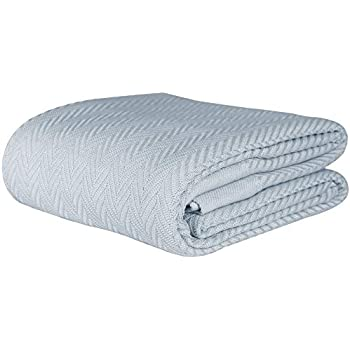 Threadmill Home Linen Herringbone Soft Breathable 100% Cotton Blanket King Size Scottish Grey
