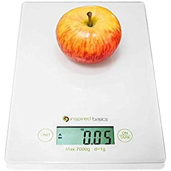Inspired Basics Digital Kitchen Scale Slim Design Food Scale Easy to Clean Glass Surface 15 Lbs