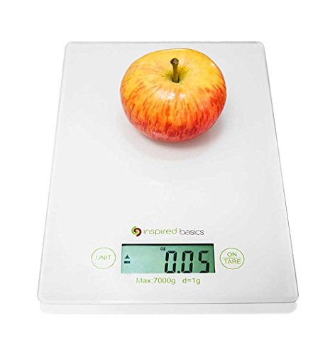 Inspired Basics Digital Kitchen Scale Slim Design Food Scale Easy to Clean (Glass Kitchen Scale)