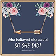 IEFLIFE Graduation Gifts for Her, Arrow Necklace Senior 2020 Gifts Sideways Arrow Necklace College High School