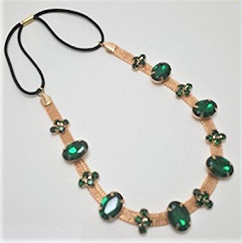 Bohemian Rhinestone Emerald Green Stones Beautiful Head Wear Hair Band Headpiece (Emerald Headband Crystal)