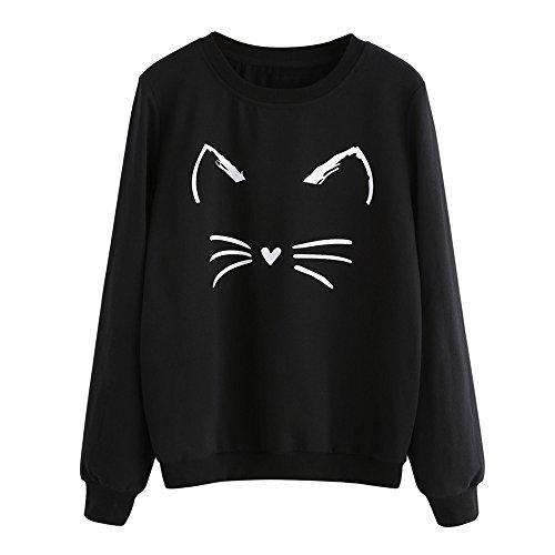 Burgundy Lines Full Zip Jacket (Womens Sweatshirts Kinghard Women's Fashion Casual Cat Printing Sweatshirt Pullover Tops Women's Sweet Cat Pullover Sweatshirts Hoodie Cute Kitty face Women's Hoodie (L, Black))