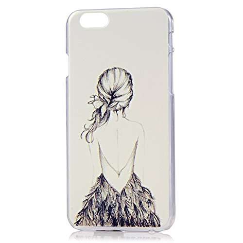 MOLLYCOOCLE Fashion Style Transparent Painted PC Cover White Skin Phone Back Cover with Beauty's Preceding Figure Pattern for Iphone 6 4.7 Inch