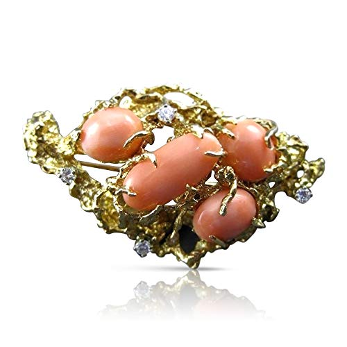 (Milano Jewelers Large Old Mine Diamond & AAA Coral 14KT Yellow Gold Brooch/PIN #20239)