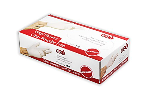EDI Clear Powder Free Vinyl Glove,4.3 mil,Disposable glove,Industrial Glove,Clear, Latex Free and Allergy Free, Plastic, Work, Food Service, Cleaning,100 gloves per box (Box of 100) (Medium)