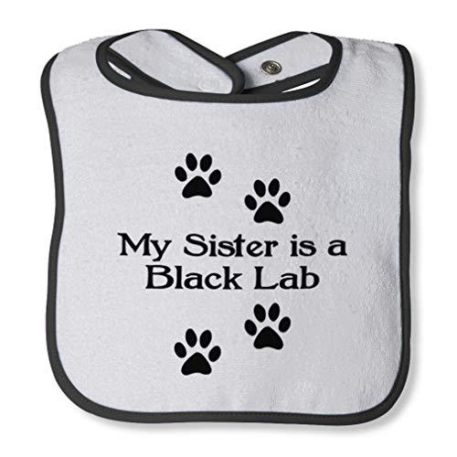 My Sister Is A Black Lab Cotton Boys-Girls Baby Terry Bib Contrast Trim - White Black, One Size