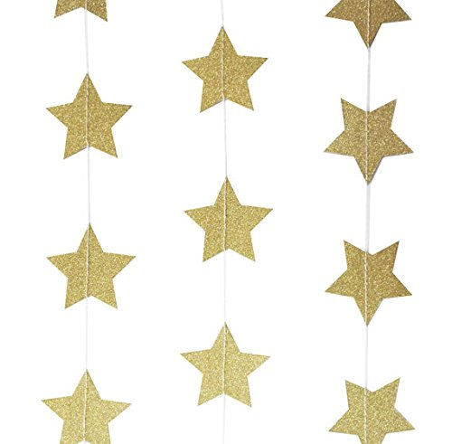 My Lifestyle 26Ft Set of 2 Glitter Gold Star Paper Garland for Room Party Decorations Backdrop - (Gold Star) -