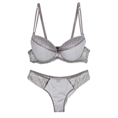 (Women Lace Overlays Stripes Push Up Bras and Panty Set Petite Size Underwire Padded Everyday Bras T-Shirt Bras Demi Bras Brassieres for Women Grey Size 36B)