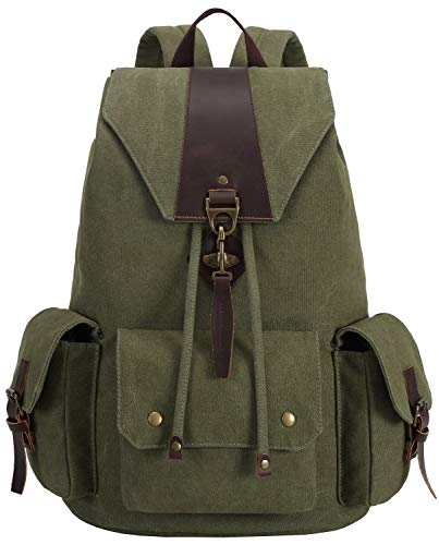 Canvas Vintage Backpack Leather Casual Men Women Laptop Travel Rucksack (Army (Best Bluboon Outdoor Products Laptop Backpacks)