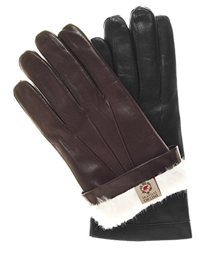 Fratelli Orsini Men's Italian Rabbit Fur Lined Leather Gloves Size 9 Color Black