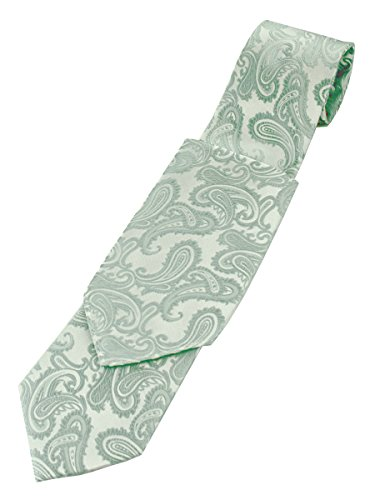 Paisley Neck Tie and Pocket Hankie set - Sage