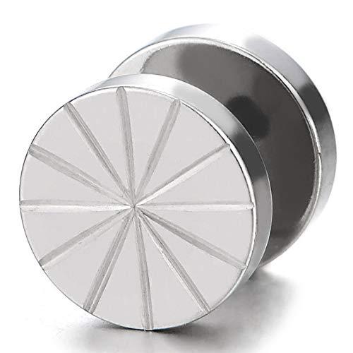 10MM Stripes Kreis Ohrstecker Ohrringe Herren 1Paar Fake Plugs Ohr Cheater Tunnel Gauges Ohr-Piercing Edelstahl
