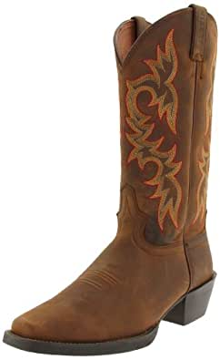 """Justin Boots Men's Stampede Collection 13"""" Western Boot Wide Square Single Stitch Toe,Sorrel Apache,7 D US"""
