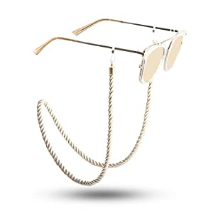 Kalevel Eyeglass Chain Holder Glasses Strap Eyeglass Chains and Cords for Women (Champagne Gold)