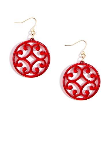 ZENZII Circle Scroll Drop Earring (Red)