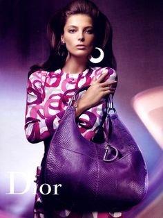 MAGAZINE ADVERTISEMENT With Daria Werbowy For 2008 Dior Purple - Purple Bag Dior