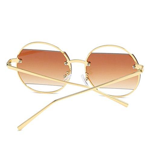 Rojo de Diamante de Huecas Marco Rosado de Gafas con Montura de Sol ZYXCC de Gafas Redondo Espejo Gafas metálica de Color Moda Mujer YANJING y Sol Modelos Sol Hombre qPn85Op