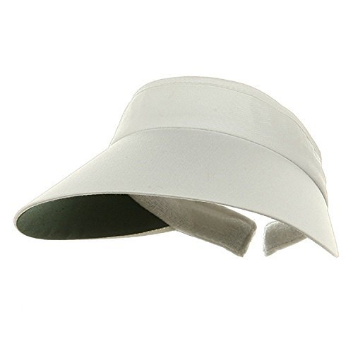 MG Womens Large Peak Twill Clip On Sun Visor- WHITE