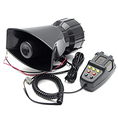 Topfire 100W 12V 7 Sounds Car Truck Speaker Warning Alarm Police Fire Siren Horn Loud Sound 105db with MIC Microphone