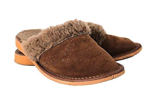 Handmade Women Slippers – Brown – wool – soft and warm (6, brown)