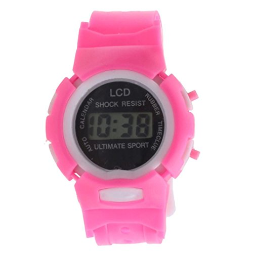 Price comparison product image SMTSMT Students Time Clock Digital LCD Wrist Sport Watch-Pink