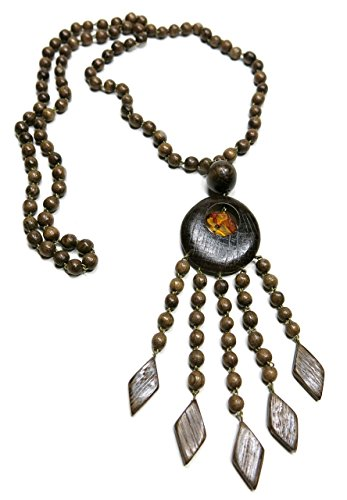- KaleaBoutique Aloha Hand Crafted Wooden Artisan Ethnic Bohemian Necklace Women's Boho Beach Y-style Pendant Jewelry, in Mahogany